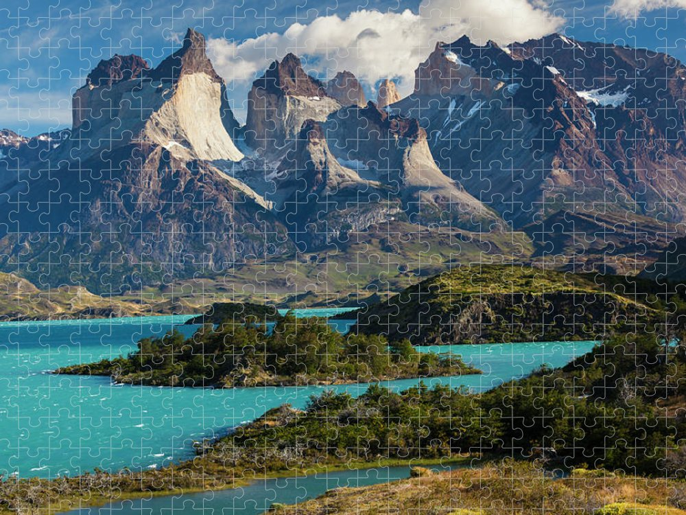 Scenics Puzzle featuring the photograph Chile, Torres Del Paine National Park by Walter Bibikow
