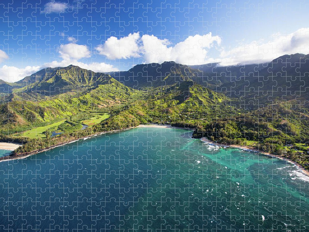 Tranquility Puzzle featuring the photograph Scenic Aerial Views Of Kauai From Above by Matthew Micah Wright