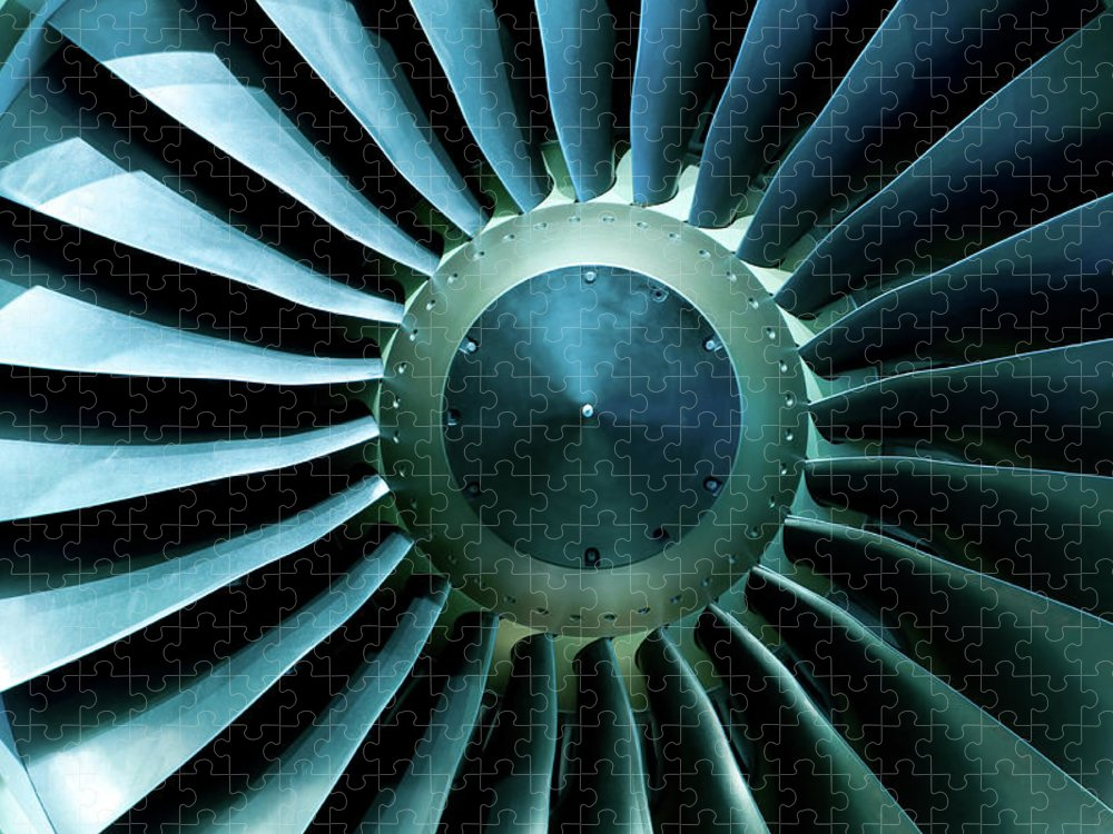 Material Puzzle featuring the photograph A Close Of Up A Turbine Showing The by Brasil2