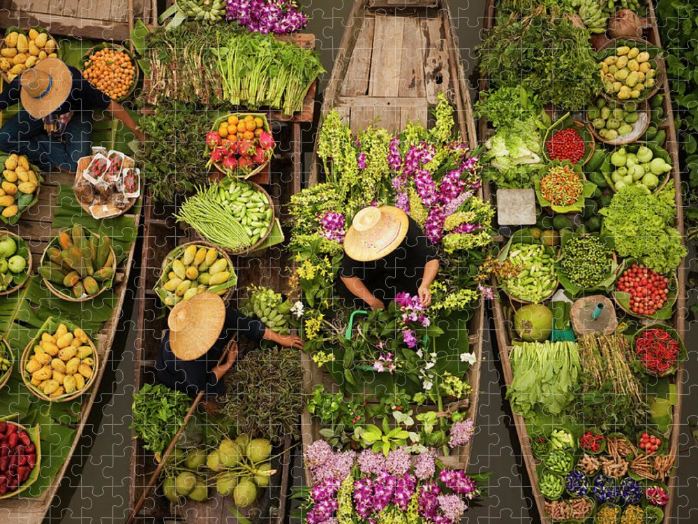 People Puzzle featuring the photograph A Floating Market On A Canal In by Mint Images - Art Wolfe