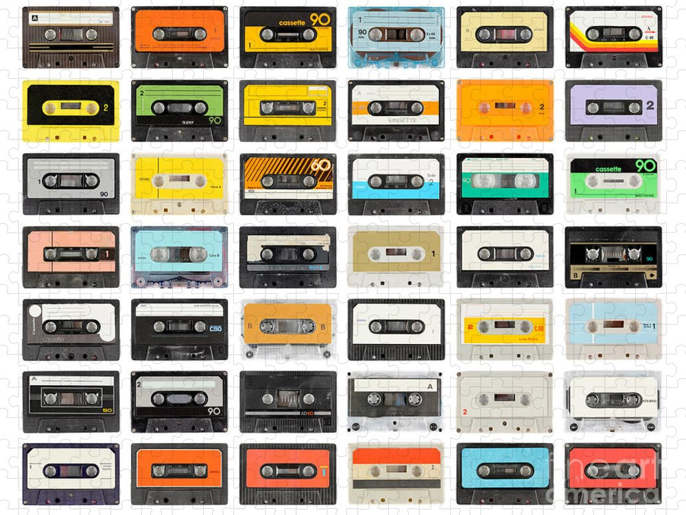 Play Puzzle featuring the photograph A Large Collection Of Retro Cassette by Dubassy
