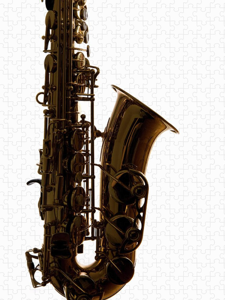 White Background Puzzle featuring the photograph A Saxophone, Close-up, Studio Shot by Halfdark