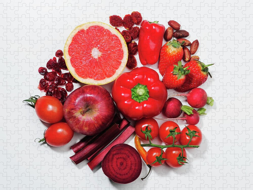 White Background Puzzle featuring the photograph A Selection Of Red Fruits & Vegetables by David Malan