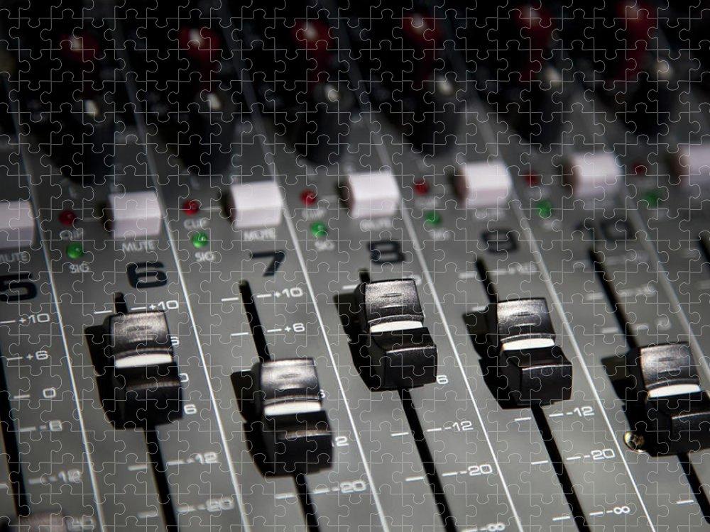 Shadow Puzzle featuring the photograph A Sound Mixing Board, Close-up, Full by Tobias Titz