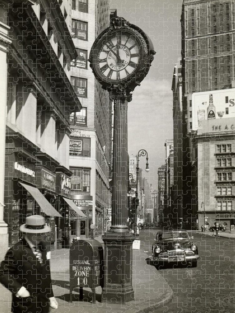 Public Mailbox Puzzle featuring the photograph A Street Clock On Fifth Ave., Nyc by George Marks