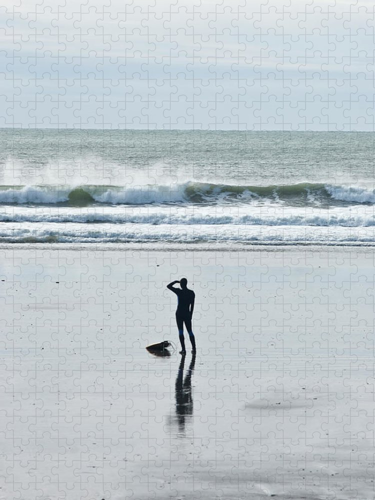 Young Men Puzzle featuring the photograph A Surfer Watches The Waves Before by Mark Marchesi
