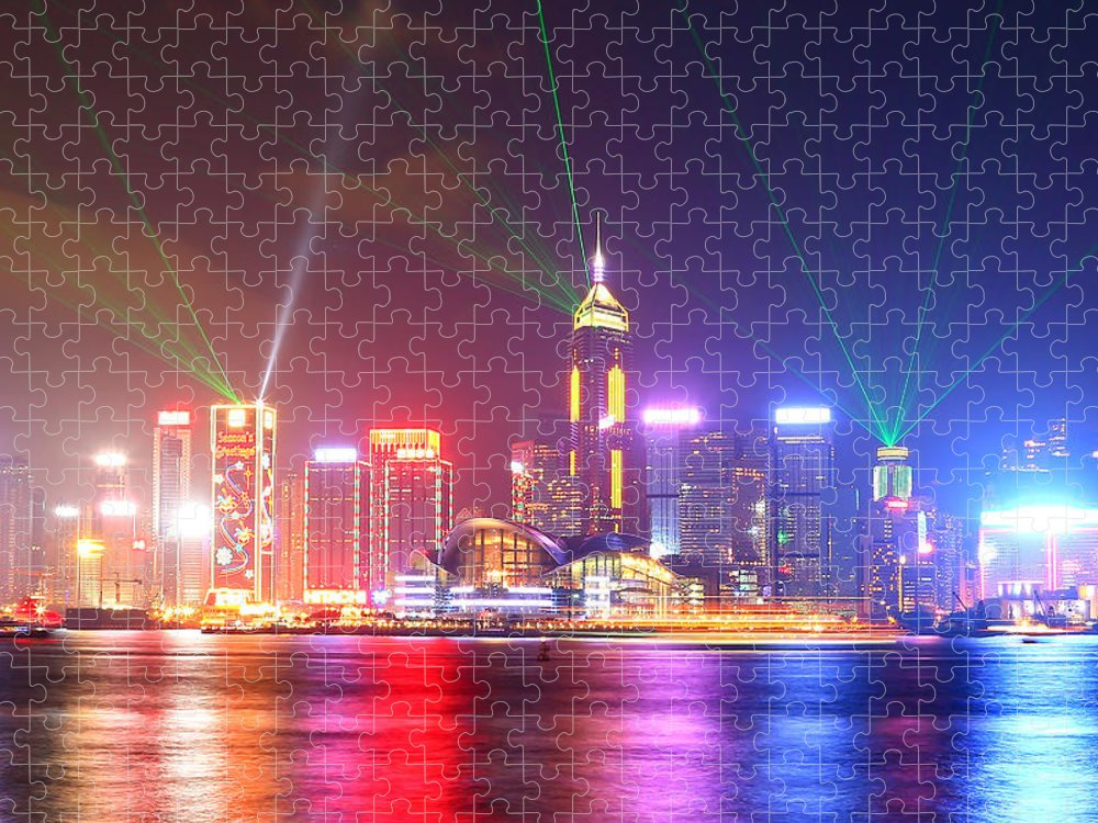 Tranquility Puzzle featuring the photograph A Symphony Of Lights by Liu Wai Yip Even