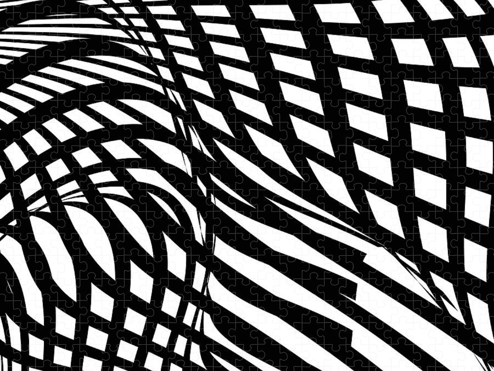 Curve Puzzle featuring the digital art Abstract Black And White Stripe Shape by Shuoshu