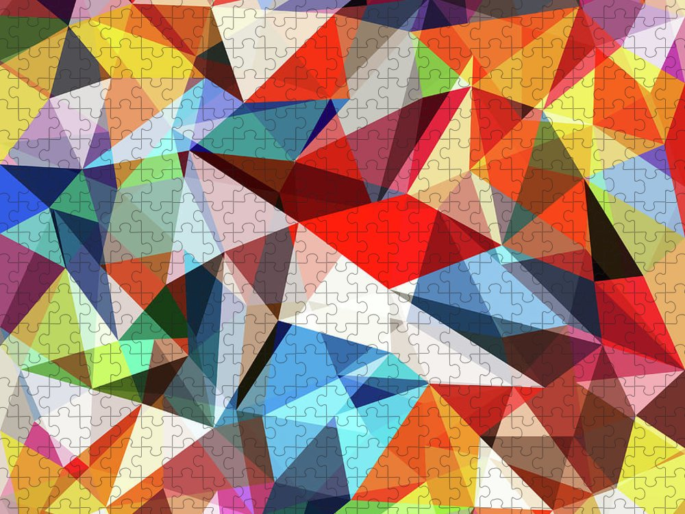 Art Puzzle featuring the digital art Abstract Colorful Geometrical Background by Natrot