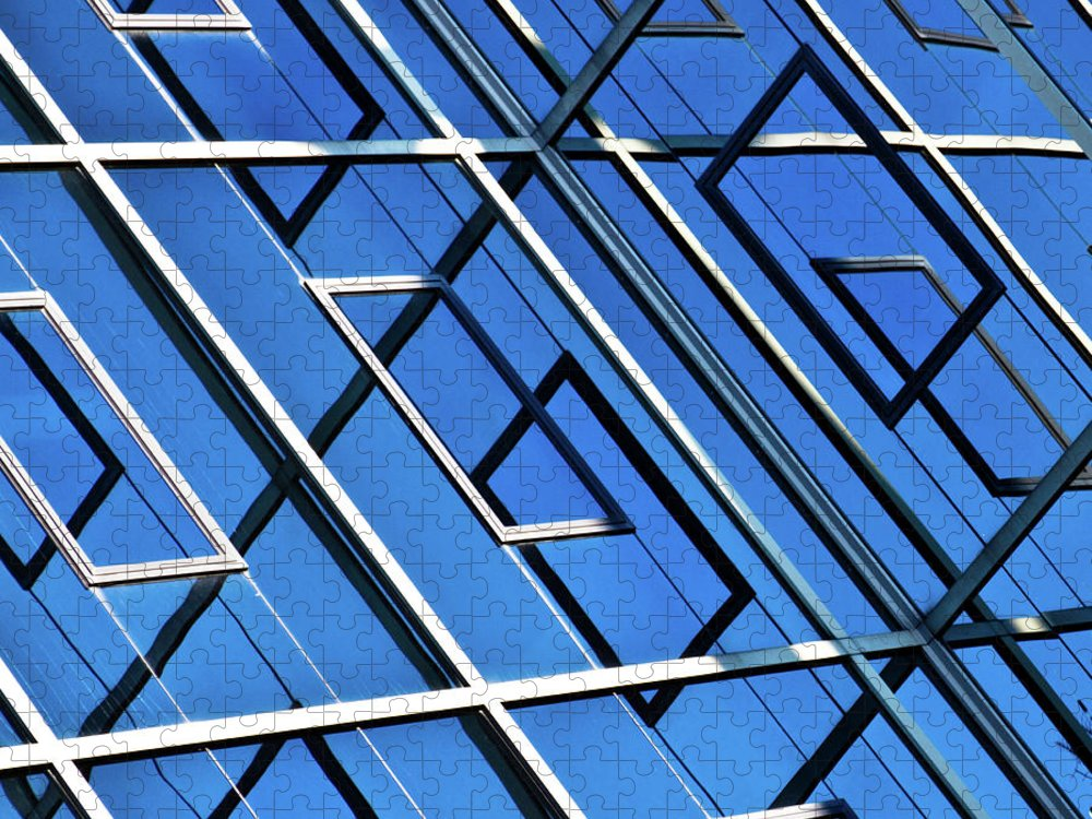 Outdoors Puzzle featuring the photograph Abstract Geometric Reflection by By Fabrice Geslin