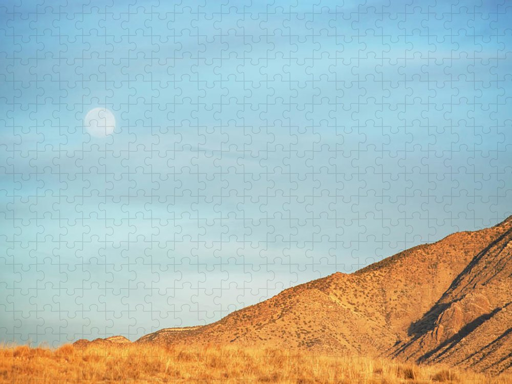 Scenics Puzzle featuring the photograph Abstract Landscape Mountain Moon by Amygdala imagery