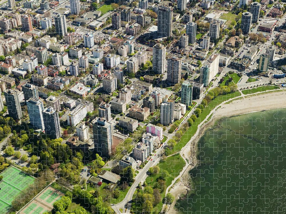 Outdoors Puzzle featuring the photograph Aerial Of West End, Vancouver by Lucidio Studio, Inc.