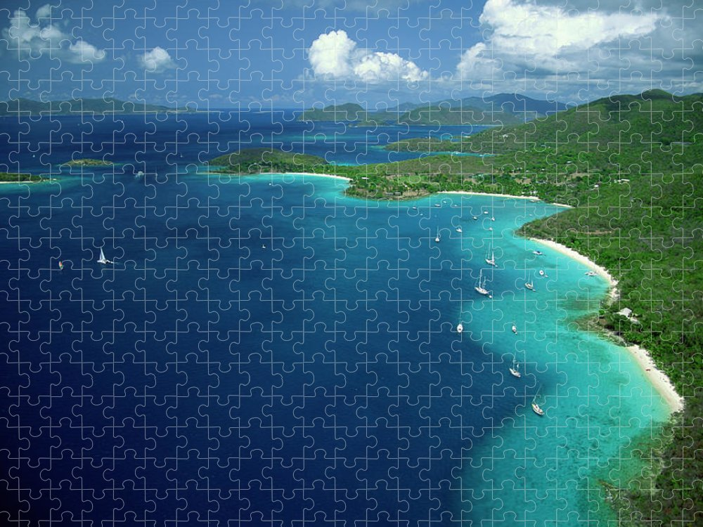 Sailboat Puzzle featuring the photograph Aerial View Of Shoreline by Don Hebert