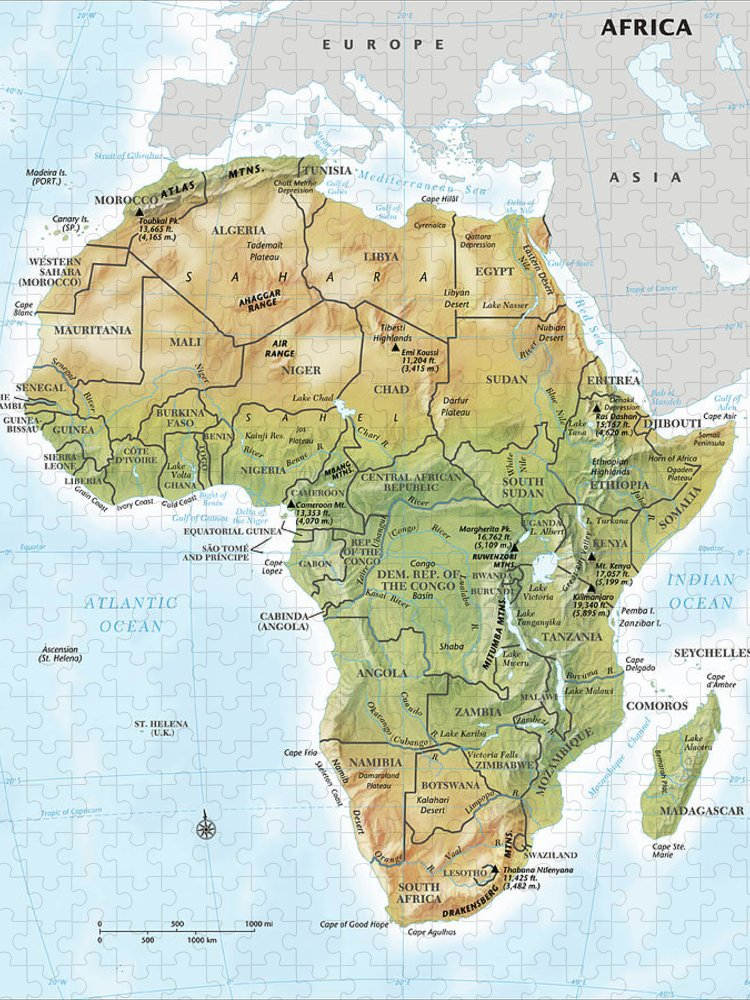 Topography Puzzle featuring the digital art Africa Continent Map With Relief by Globe Turner, Llc