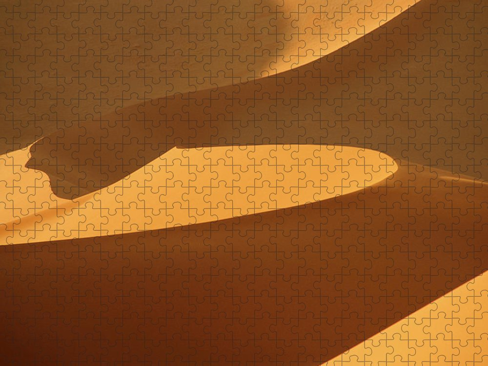 Shadow Puzzle featuring the photograph Africa, Namibia, Sand Dunes, Full Frame by Peter Adams