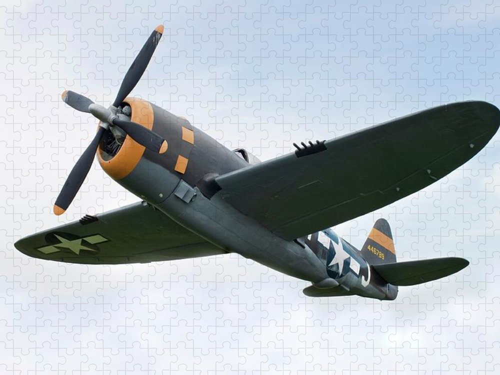 Air Attack Puzzle featuring the photograph Airplane P-47 Thunderbolt From World by Okrad
