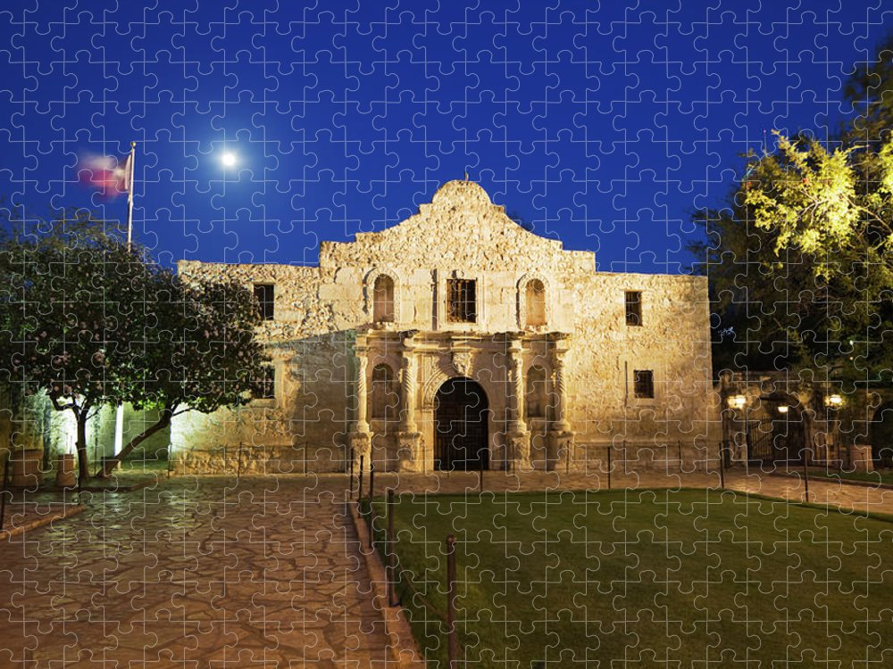 War Puzzle featuring the photograph Alamo Mission, San Antonio, A Famous by Yinyang