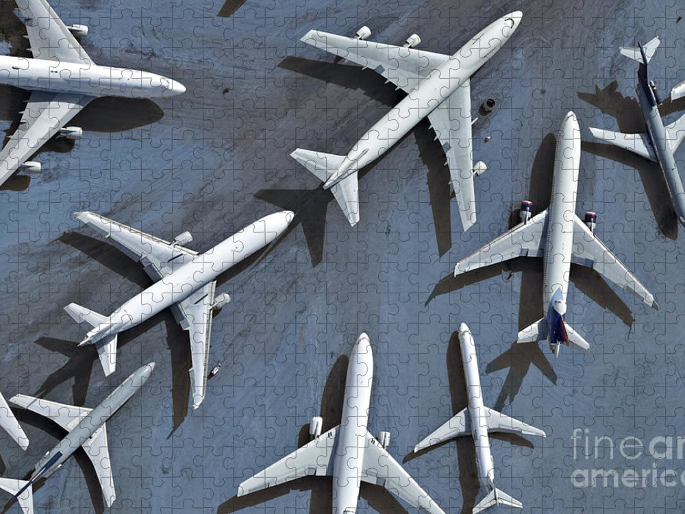 Parking Puzzle featuring the photograph An Aerial View Of Multiple Airplanes by Azp Worldwide