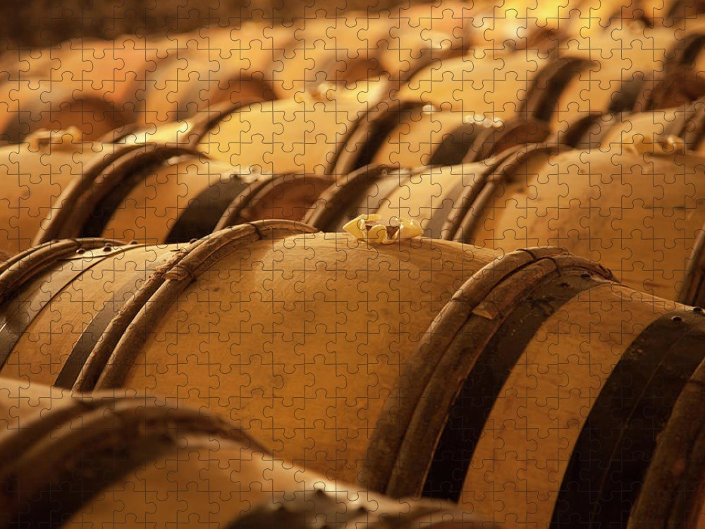 Fermenting Puzzle featuring the photograph An Old Wine Cellar Full Of Barrels by Brasil2