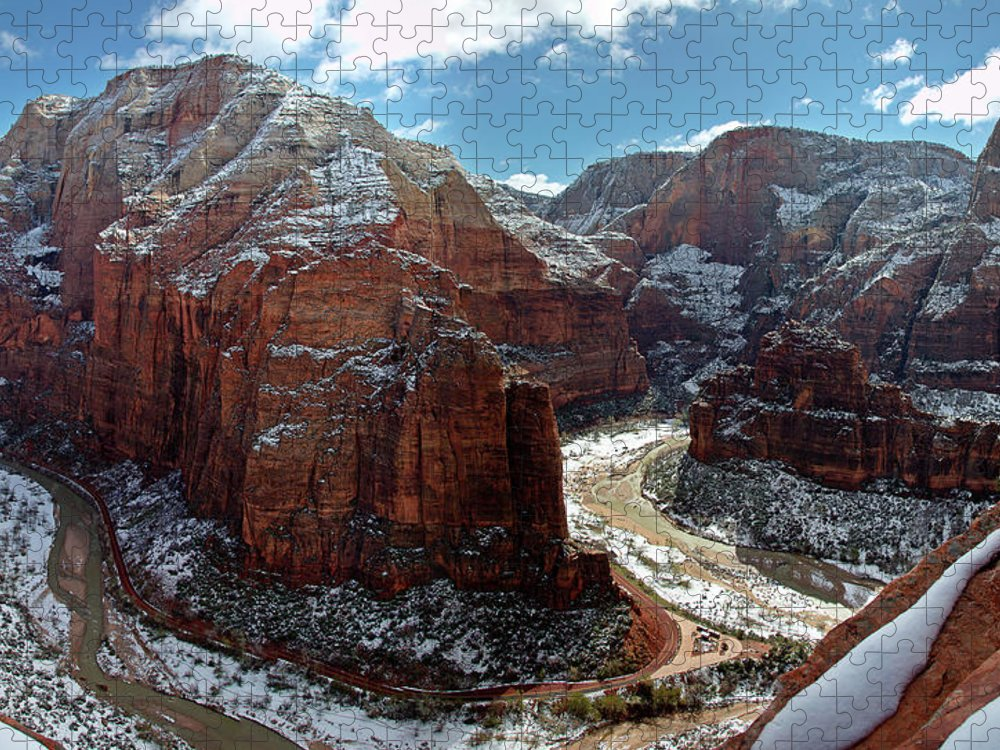 Scenics Puzzle featuring the photograph Angels Landing View From Top by Daniel Osterkamp