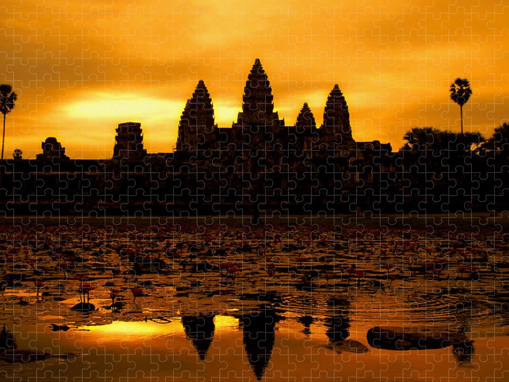 Cambodian Culture Puzzle featuring the photograph Angkor Wat At Sunrise by David Lazar