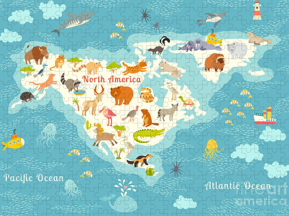 Grizzly Puzzle featuring the digital art Animals World Map North by Rimma Z