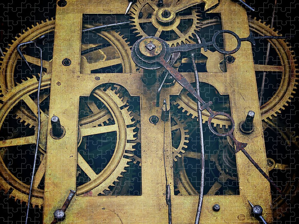 Gear Puzzle featuring the photograph Antique Clock Gears, Cog And Parts by Melissa Ross