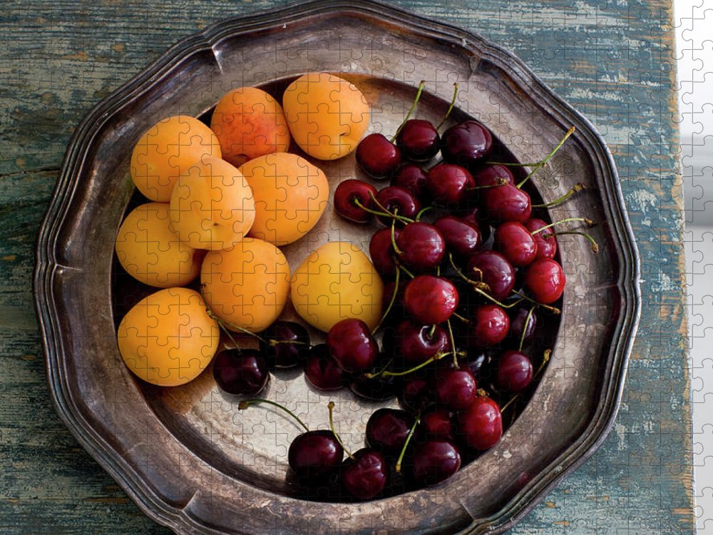 Tranquility Puzzle featuring the photograph Apricots And Cherries On Silver Tray by Bjurling, Hans