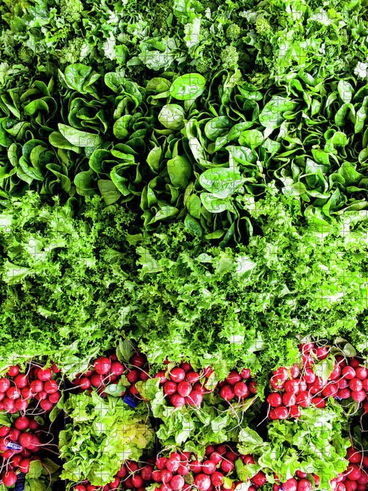 Vitamin Puzzle featuring the photograph Ariel View Of Salad Leaves And Radishes by Liam Bailey