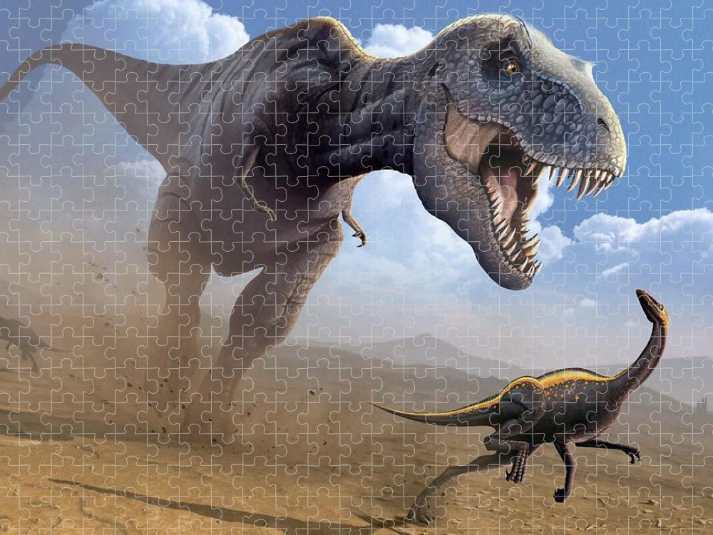 White Background Puzzle featuring the digital art Artwork Of A Tyrannosaurus Rex Hunting by Science Photo Library - Mark Garlick