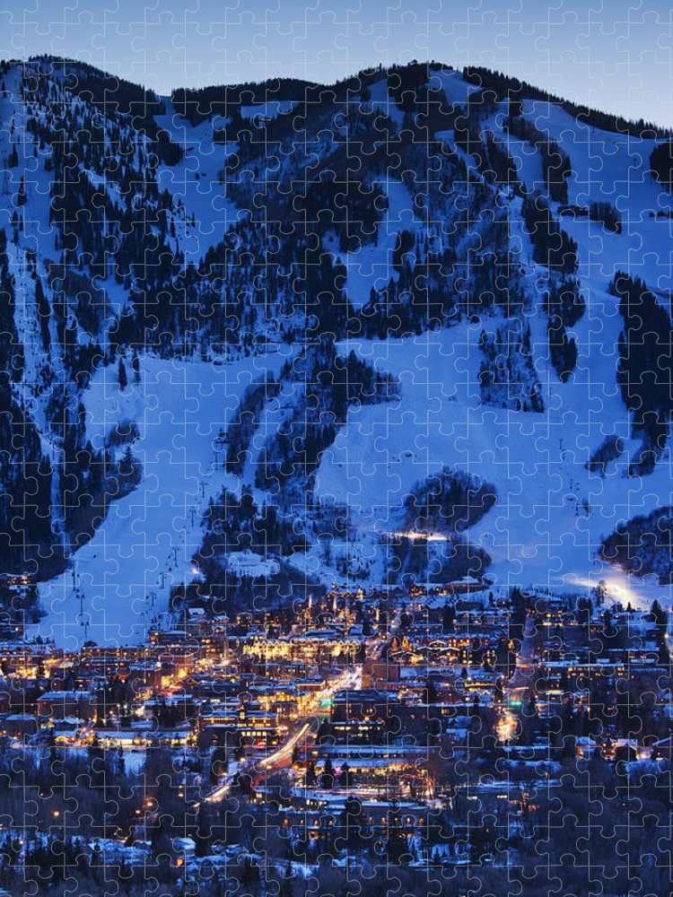 Aspen Puzzle featuring the photograph Aspen Mountain, Winter by Walter Bibikow