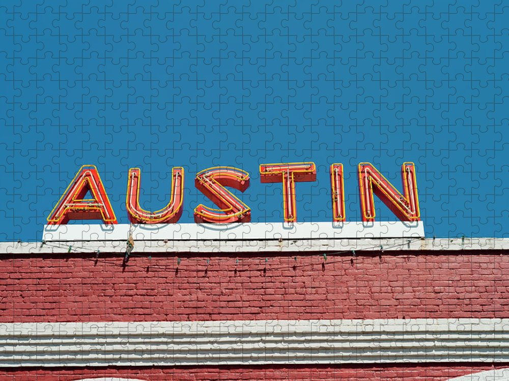 Sunlight Puzzle featuring the photograph Austin Neon Sign by Austinartist