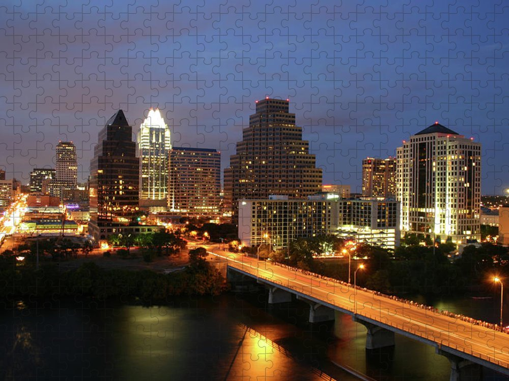 Water's Edge Puzzle featuring the photograph Austin Texas Skyline - Unique by Xjben