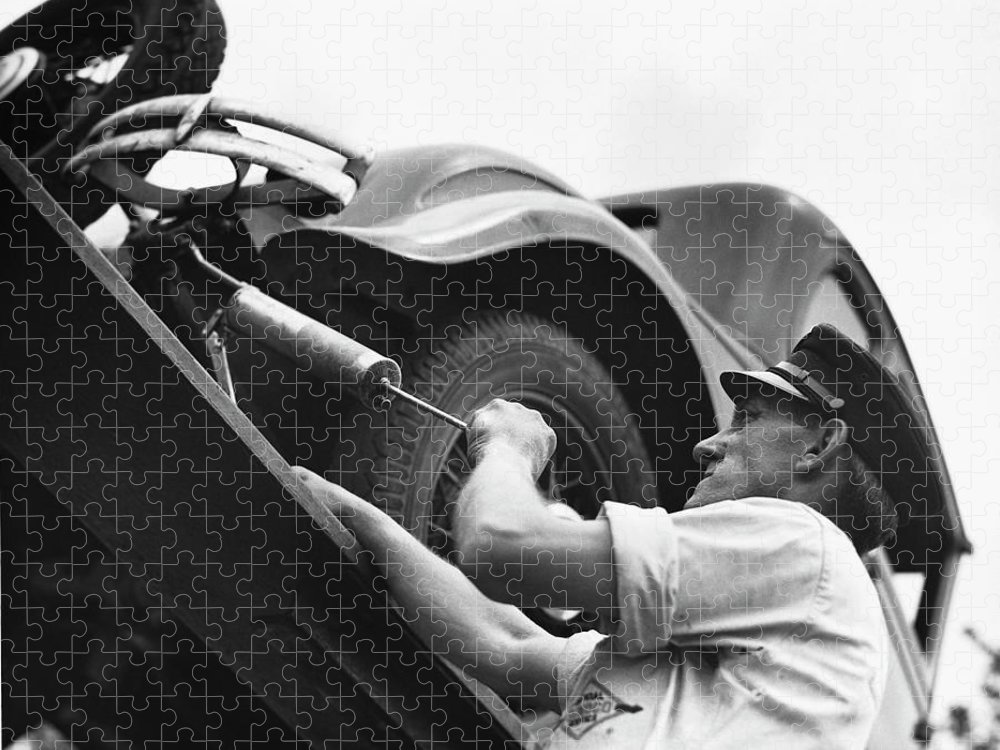 Working Puzzle featuring the photograph Auto Mechanic Vintage by George Marks