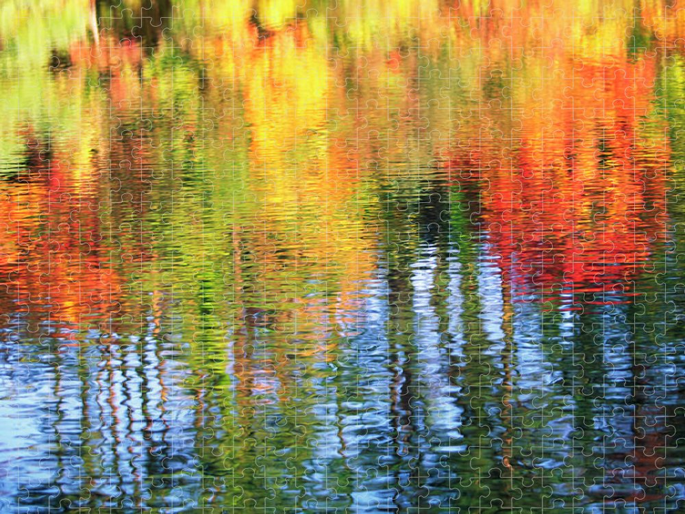 Outdoors Puzzle featuring the photograph Autumn Color Reflection by Ooyoo