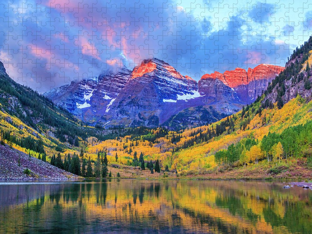Scenics Puzzle featuring the photograph Autumn Colors At Maroon Bells And Lake by Dszc