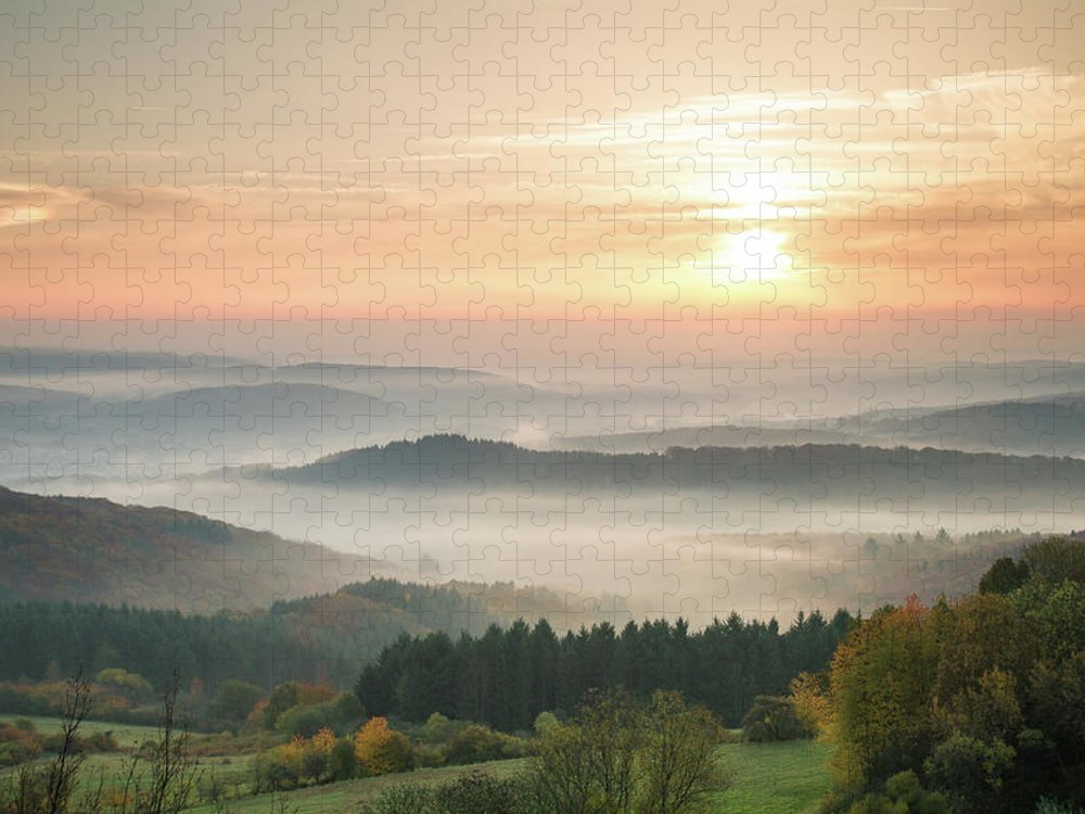 Scenics Puzzle featuring the photograph Autumn Foggy Sunrise by Marcoschmidt.net
