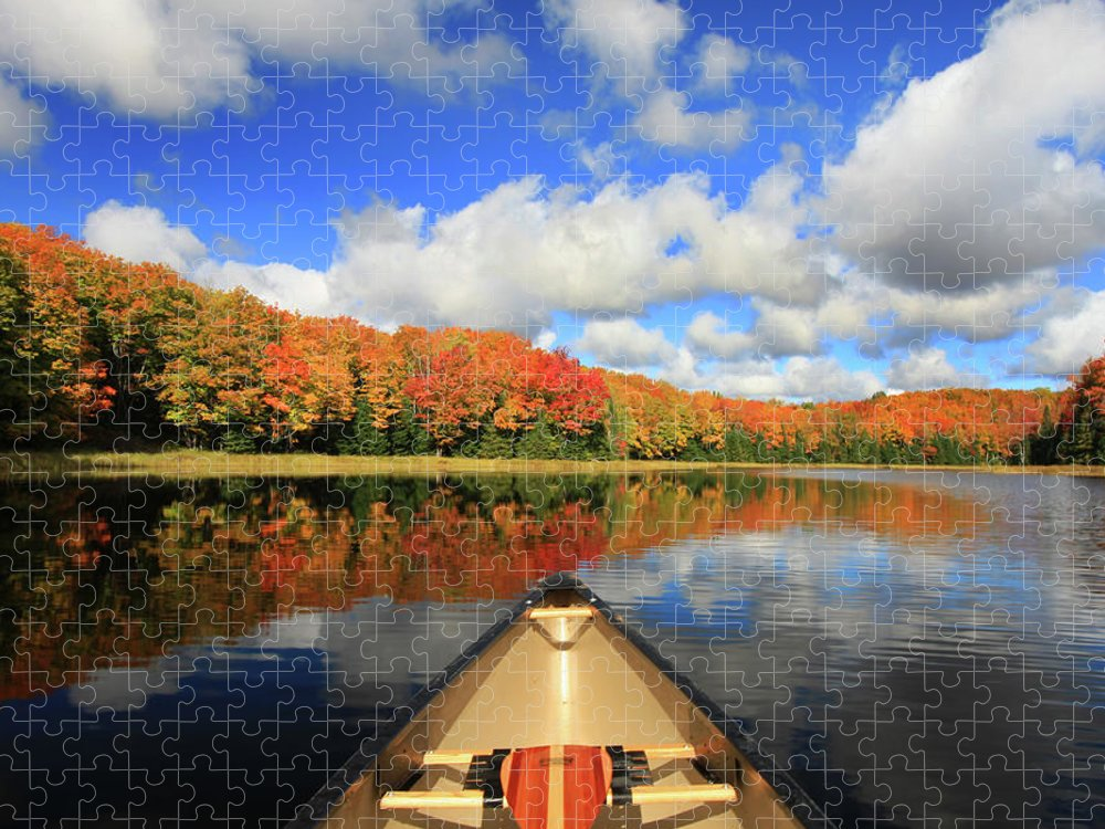 Scenics Puzzle featuring the photograph Autumn In A Canoe by Photos By Michael Crowley