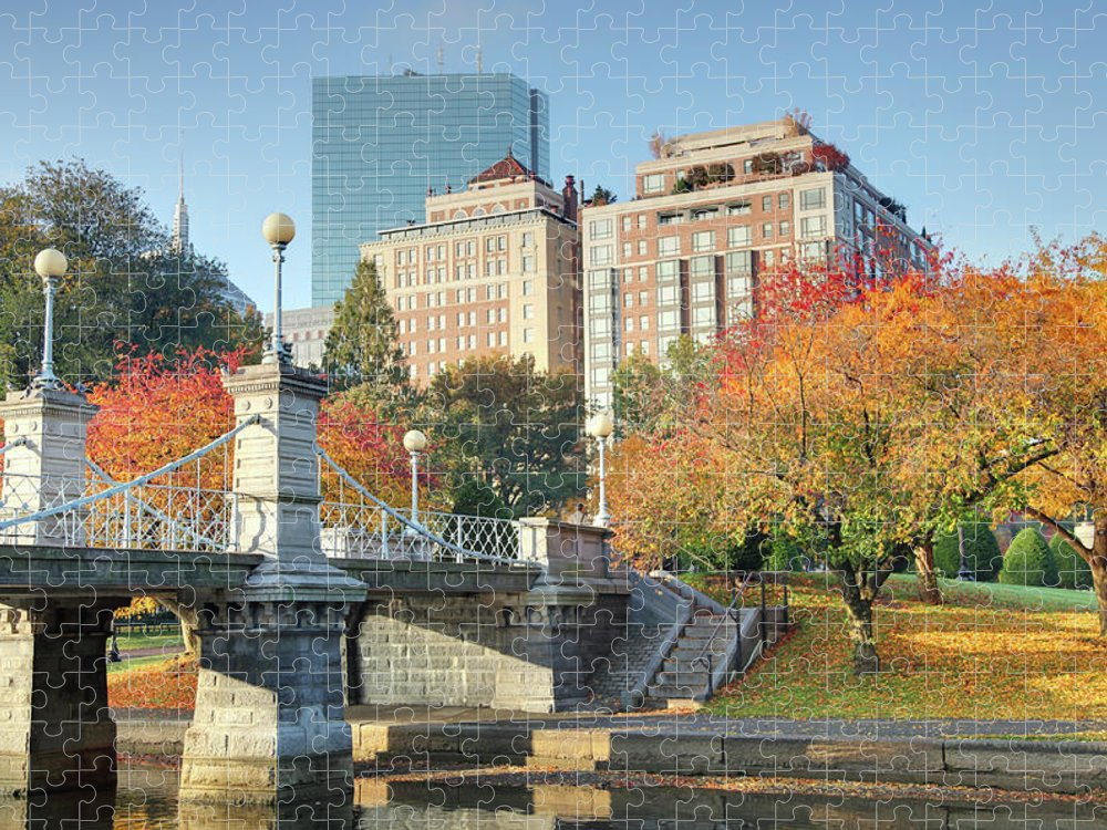 Downtown District Puzzle featuring the photograph Autumn In Boston by Denistangneyjr