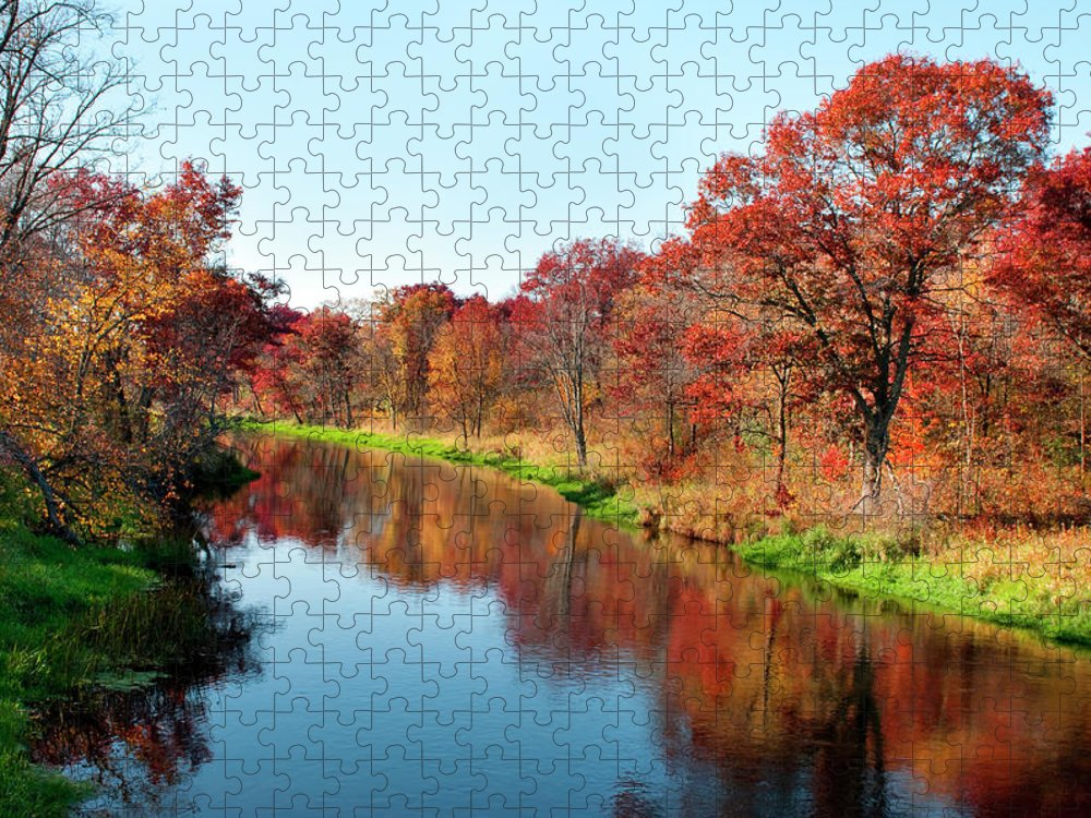 Water's Edge Puzzle featuring the photograph Autumn In Wisconsin by Jenniferphotographyimaging