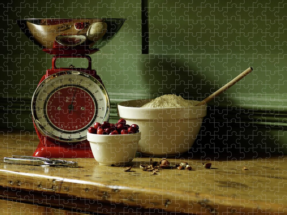 Nut Puzzle featuring the photograph Baking Ingredients Sit On Table by Max Oppenheim