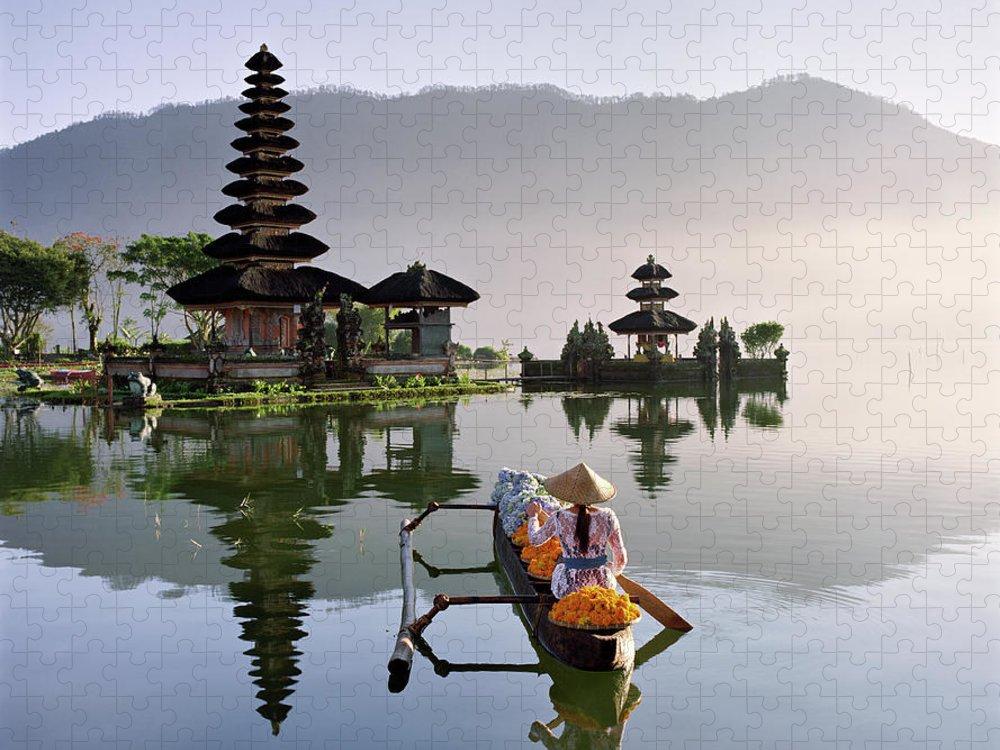 Working Puzzle featuring the photograph Bali, Pura Ulun Danu Bratan Temple by Martin Puddy