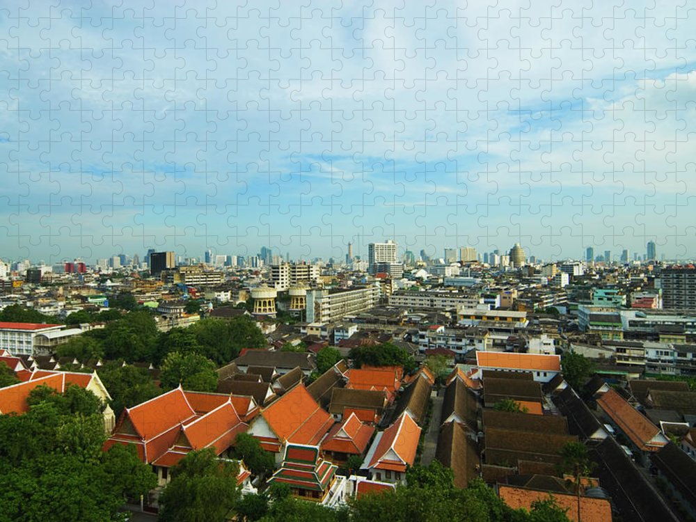Tropical Tree Puzzle featuring the photograph Bangkok View With Temple Roofs 2 by Sndrk