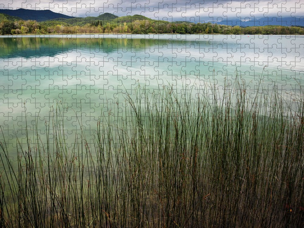 Scenics Puzzle featuring the photograph Banyoles And Lake Banyoles In Catalonia by Marc Princivalle For Imagesconcept.com