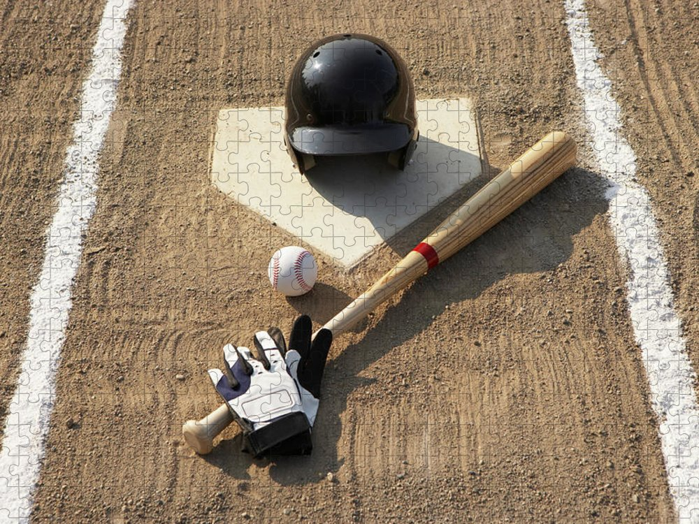 Shadow Puzzle featuring the photograph Baseball, Bat, Batting Gloves And by Thomas Northcut