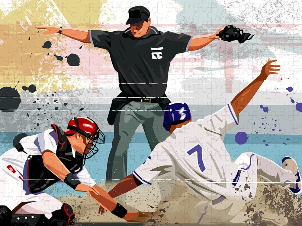 Helmet Puzzle featuring the digital art Baseball Player Safe At Home Plate by Greg Paprocki