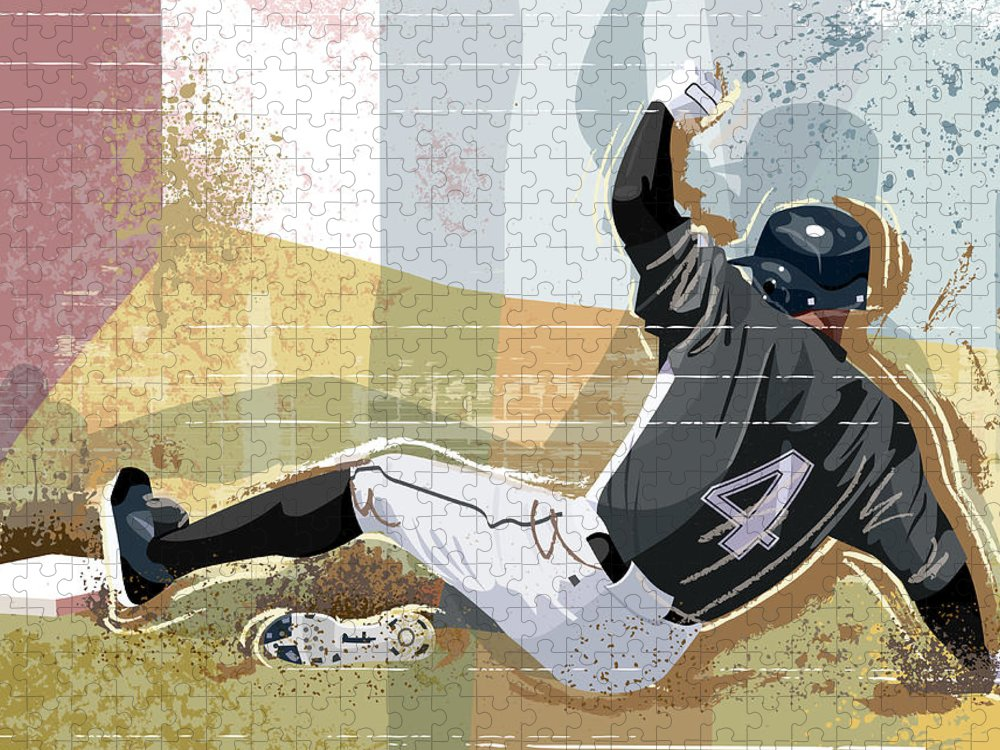 Sports Helmet Puzzle featuring the digital art Baseball Player Sliding Into Base by Greg Paprocki
