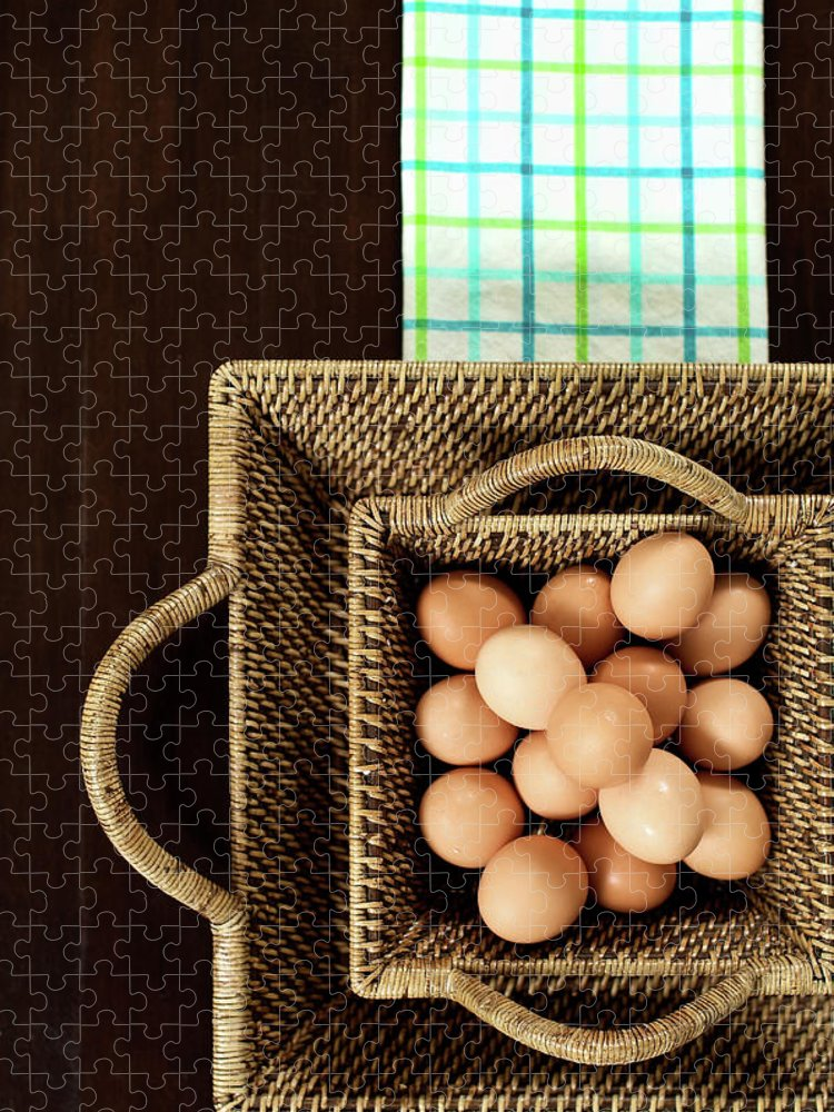 Large Group Of Objects Puzzle featuring the photograph Basket Of Brown Eggs by Joey Celis