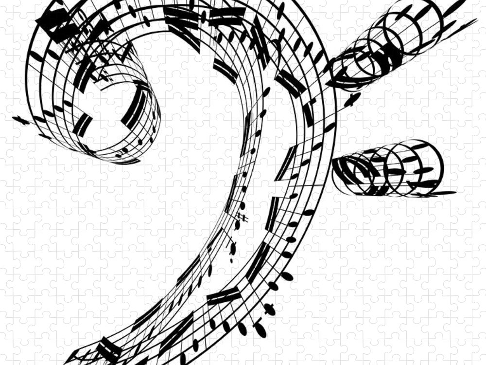 Sheet Music Puzzle featuring the digital art Bass Clef Made Of Music Notes by Ian Mckinnell