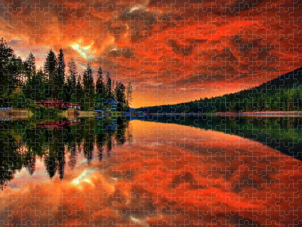 Scenics Puzzle featuring the photograph Bass Lake Sunset by Michael Lawenko Dela Paz